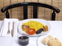 för hornomeny för al arroz lagad mat rice för ugn Royaltyfri Foto