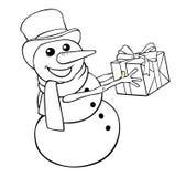För hristmas för färgläggning Ñ snögubbe med gåvan på en vit bakgrund Fotografering för Bildbyråer