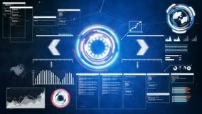 för HUD And för animering 4K pi för stång graf för för begreppsteknologi för Cyber den futuristiska beståndsdelen på den mörka ba stock video