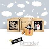 För hundfåglar för lycklig födelsedag kort för gåva royaltyfri illustrationer