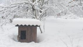 för hundfamiljen för 4 kabel huset för vännen houses hyrda år Tung snö som faller på bakgrund av arkivfilmer