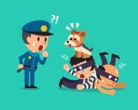 För hundportion för tecknad film gullig polis som fångar tjuvar Arkivfoto