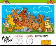 För hur många katter och hundkapplöpningaktivitet spelar stock illustrationer