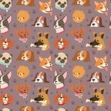 För husdjurhuvud för hundkapplöpning vektor för bakgrund för modell för gullig framsida för avatar sömlös royaltyfri illustrationer