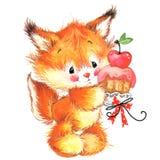 För husdjurvattenfärg för rolig ekorre gullig illustration stock illustrationer
