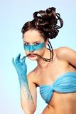 för huvuddelfantasi för konst blå flicka s Arkivfoto