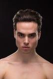 För huvudframsida för ung man jawline för closeup Arkivfoton
