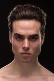 För huvudframsida för ung man jawline för closeup Royaltyfri Bild
