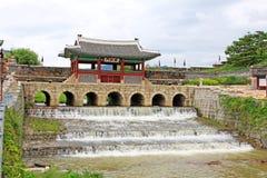 """För Hwaseong för †för Korea UNESCOvärldsarv """"port för vatten fästning Royaltyfria Foton"""
