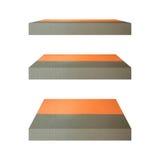 för hyllaisolat för betong 3D bakgrund Bakgrund för produktskärmbegrepp Arkivfoto