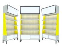 för hyllaträ för design tom modern yellow Fotografering för Bildbyråer