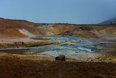 för iceland för berömda hästar för område rhyolite vaggar icelandic landmannalaugar berg vulkaniskt Arkivfoton