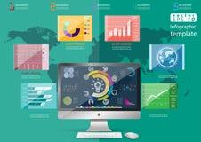 För idé- och begreppsvektor för näringsliv modern Infographic för illustration mall med symbolen, hand, förstoringsapparat, graf Arkivfoton