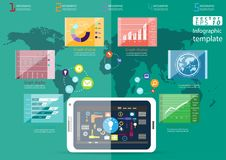 För idé- och begreppsvektor för näringsliv modern Infographic för illustration mall med symbolen, hand, förstoringsapparat, graf Royaltyfri Foto