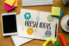 För idédesign för NYA IDÉER strategi för funderare för innovation saklig, N Arkivbild