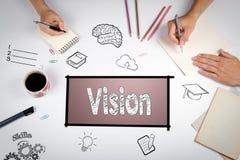 För idédesign för vision idérikt begrepp Mötet på den vita kontorstabellen fotografering för bildbyråer
