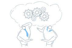 För idékläckningkugghjulet för två män som hjulet tillsammans arbetar processstrategibegrepp, skissar klotter royaltyfri illustrationer