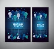 För idékonst för ljus kula begrepp för design Mallen för broschyraffärsdesignen eller rullar upp Arkivbild
