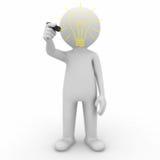för idélightbulb för teckning 3d man Fotografering för Bildbyråer