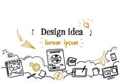 För idéutveckling för den grafiska designen begreppet skissar klotterhorisontalkopieringsutrymme stock illustrationer