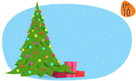 För illustrationbild för nytt år julgran 2017 på en blå bakgrund Fotografering för Bildbyråer