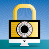 för illustrationbildskärm för dator 3d säkerhet Royaltyfri Fotografi