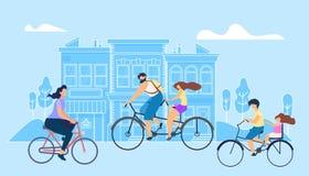 För illustrationflicka för vektor plant arbete för cykel för ridning royaltyfri illustrationer