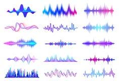 för illustrationljudet för bakgrund vågr den svarta vektorn white Ljudsignal waveform för frekvens, beståndsdelar för musikvågHUD stock illustrationer