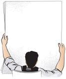 för illustrationorange för bakgrund ljust materiel En man rymmer ett ark av papper för din text Royaltyfria Foton
