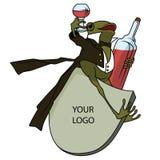 för illustrationorange för bakgrund ljust materiel Groda i en smoking, med ett exponeringsglas och en flaska Arkivbilder