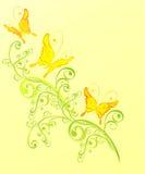 för illustrationprydnad för fjäril blom- vektor royaltyfri illustrationer
