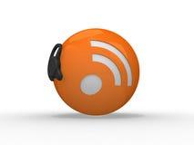för illustrationrss för hörlurar med mikrofon 3d symbol Arkivbilder