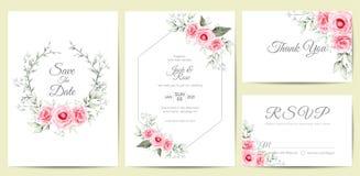 För inbjudankort för elegant vattenfärg blom- gifta sig mall Handteckningsblomman och filialer sparar datumet, hälsning, tacka di stock illustrationer