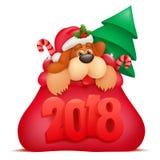 För inbjudankort för nytt år mall med hundtecknad filmteckenet i den Santa Claus påsen Fotografering för Bildbyråer