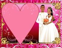 för inbjudanmall för 3 par bröllop Royaltyfri Bild