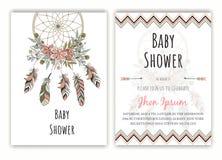 För indiandrömmen för baby shower pryder med pärlor handen drog stopparen vect stock illustrationer