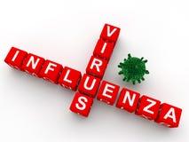 för influensavirus för korsord 3d text Fotografering för Bildbyråer