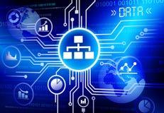 För Infographic för information om data förbindande begrepp teknologi Arkivfoton