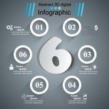 För Infographics för affär sex illustration för vektor för stil origami Royaltyfri Fotografi