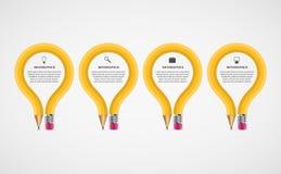 För Infographics för utbildningsblyertspennaalternativ mall design Arkivbilder