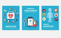 För informationskort om medicin uppsättning Medicinsk mall av flyear, tidskrifter, affischer, bokomslag Kliniskt infographic begr stock illustrationer