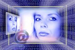 för informationspost om e teknologi arkivfoto