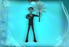 för innehavblomma för man 3d illustration Royaltyfria Bilder