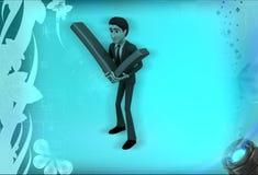 för innehavfästing för man 3d illustration för tecken för fläck Royaltyfri Fotografi