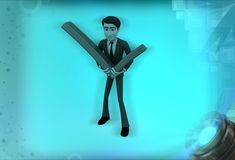 för innehavfästing för man 3d illustration för tecken för fläck Royaltyfri Bild