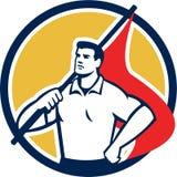 För innehavflagga för facklig arbetare Retro cirkel royaltyfri illustrationer