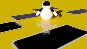 För innovationteknologi för robot 3d littl för framtida fiktion för vetenskap gullig stock illustrationer