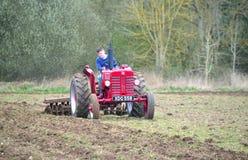 För International` s för tappning som röd traktor 1960 plöjer fältet Arkivfoto