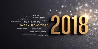 För internationalhälsning för lyckligt nytt år 2018 kort Arkivbilder