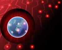 för internetCyber för global världsomspännande cyber 3D trådlös attack vid hackan stock illustrationer